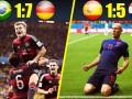 十大国家队赛事屠杀局:巴西1-7耻辱夜 荷兰5-1复仇西班牙