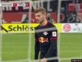 第58分钟RB莱比锡球员维尔纳点球进球 杜塞尔多夫0-2RB莱比锡