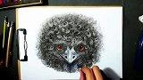 OY原创手绘——一只爆炸头的鸟